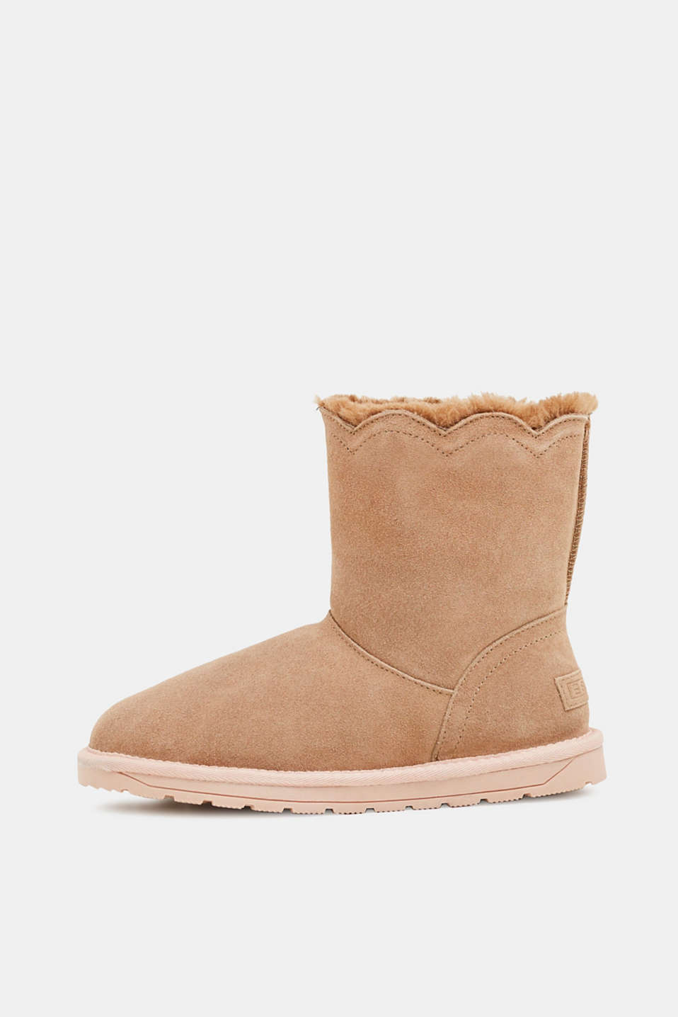 Esprit - Winter leather boots with faux fur lining