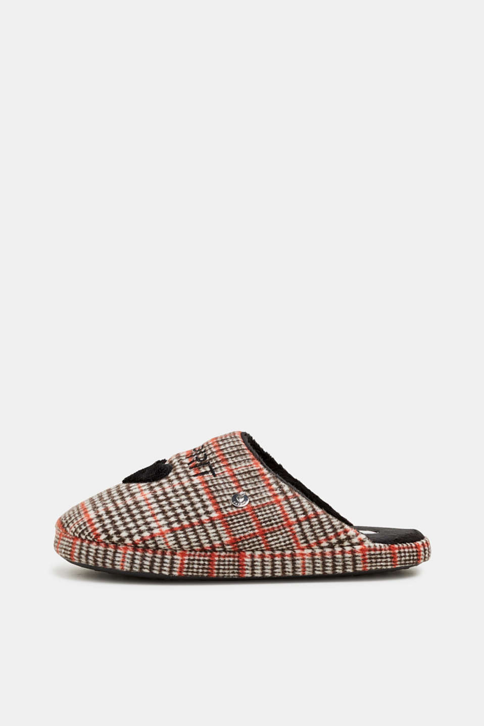Slippers with a check pattern, RED, detail image number 0