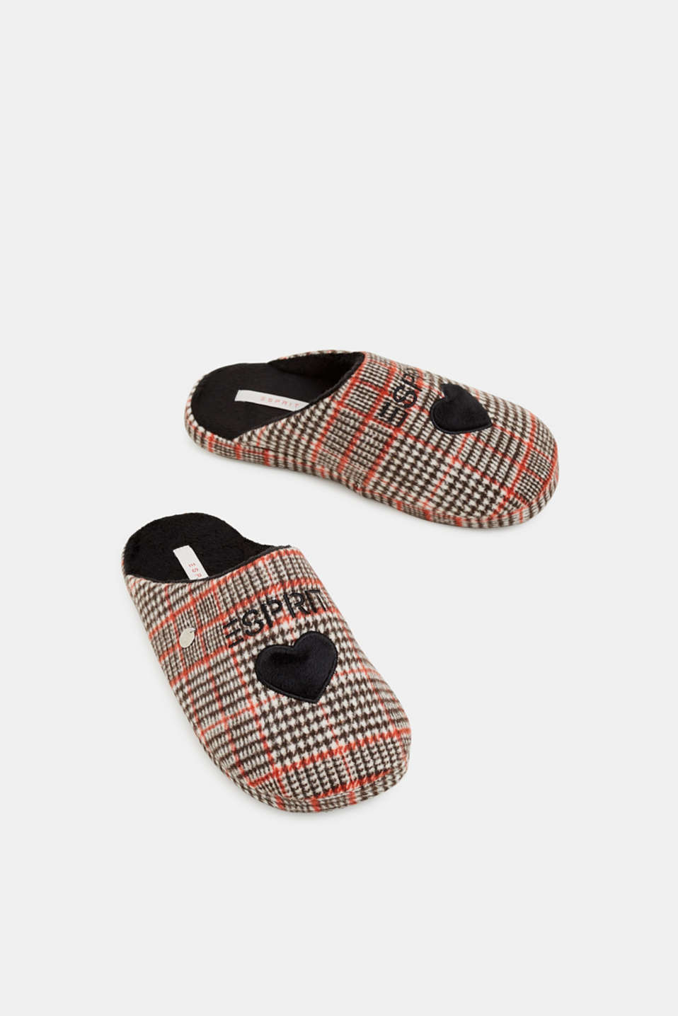 Slippers with a check pattern, RED, detail image number 1