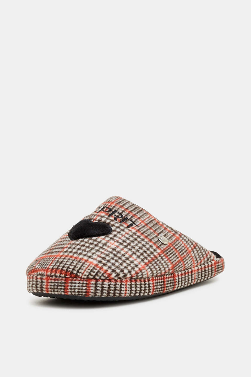 Slippers with a check pattern, RED, detail image number 2