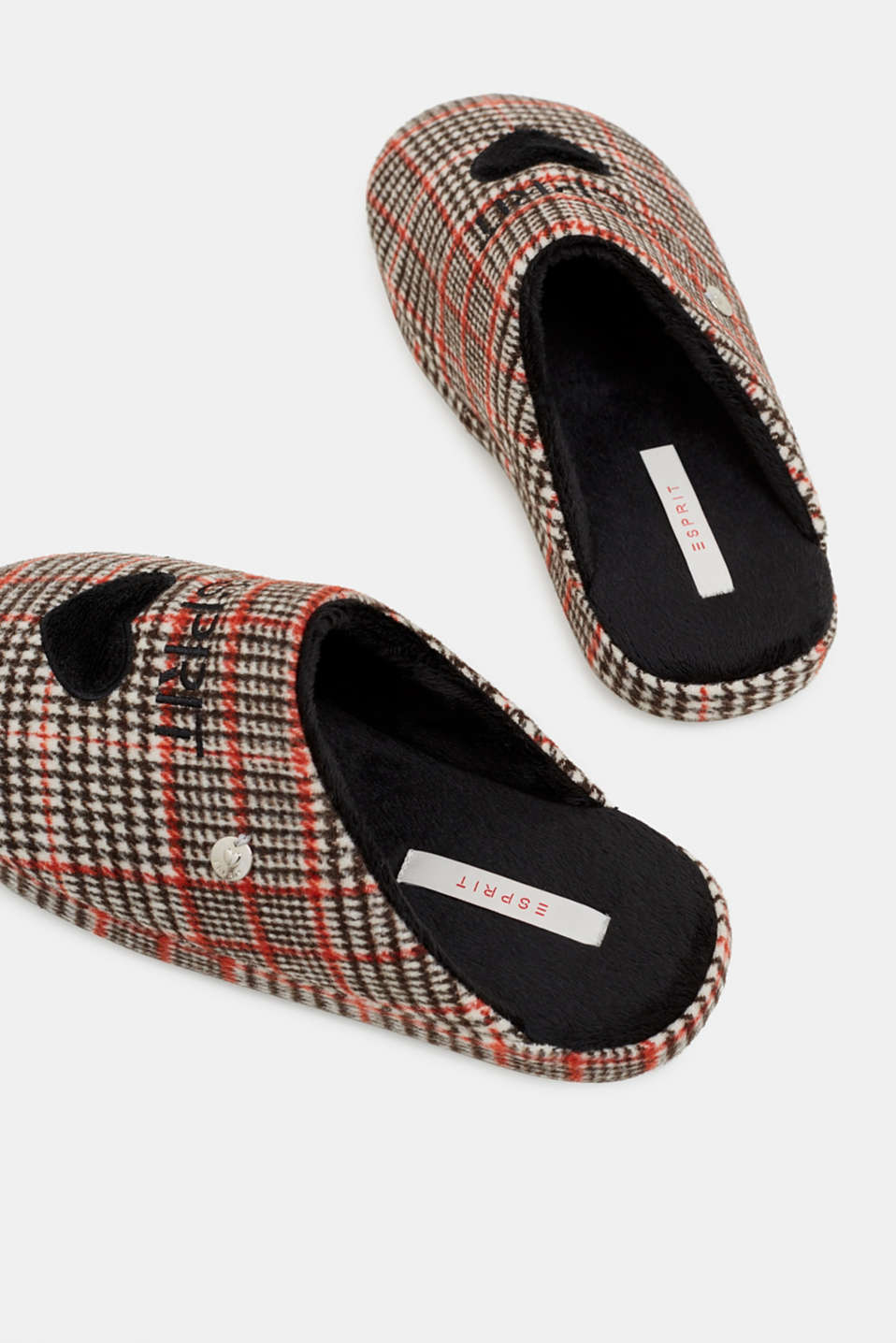 Slippers with a check pattern, RED, detail image number 3