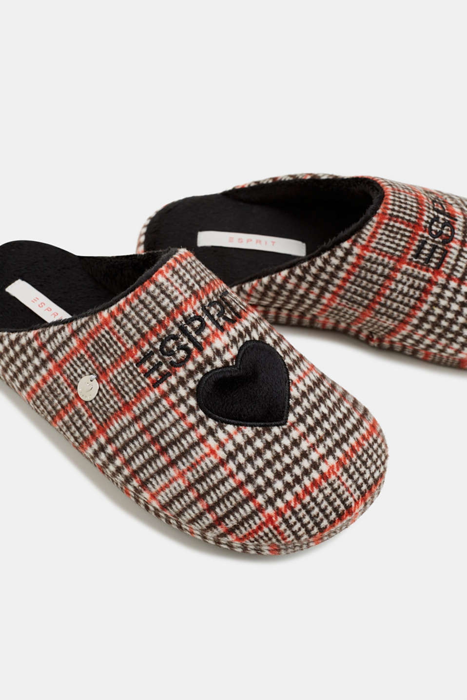 Slippers with a check pattern, RED, detail image number 4