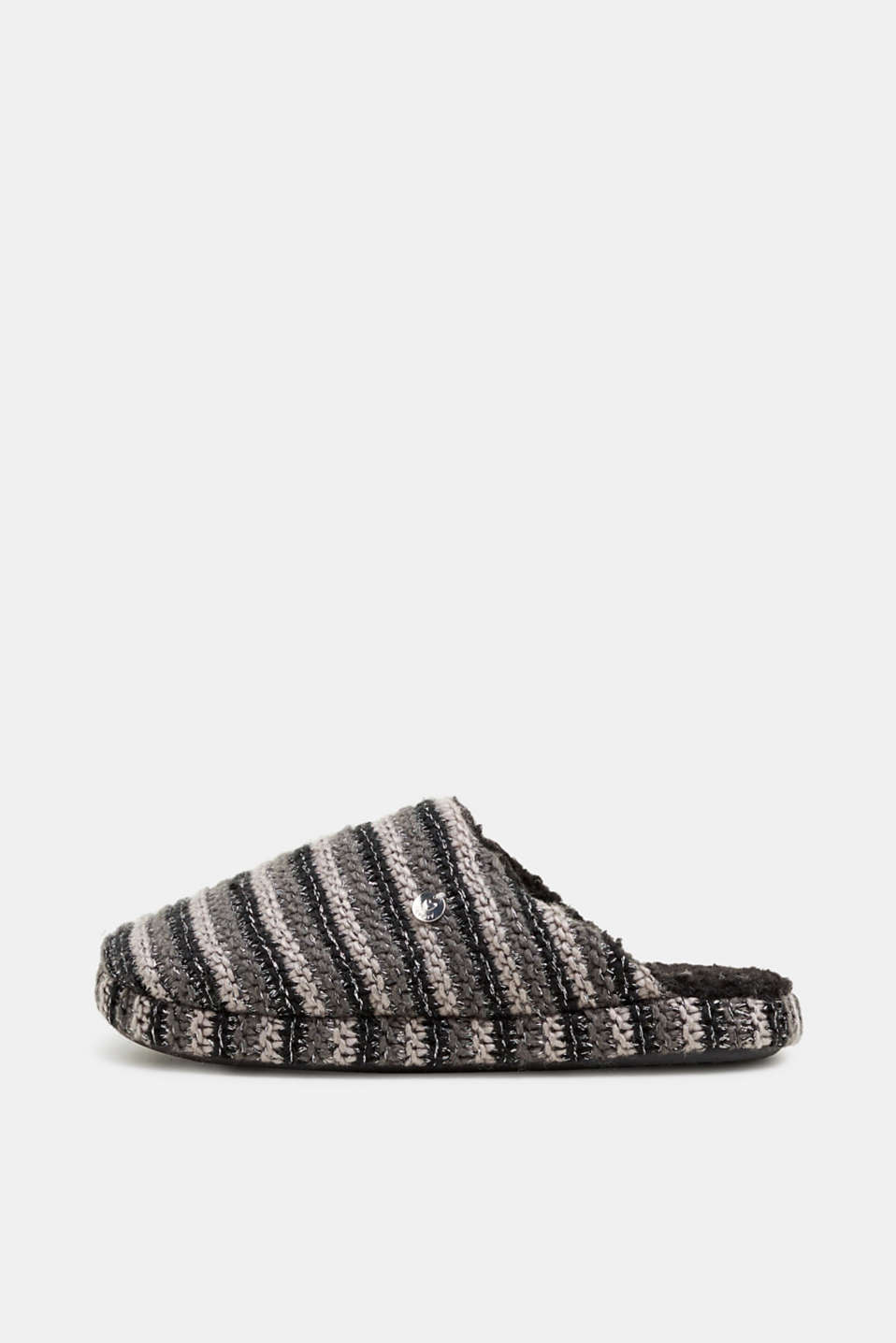 Chunky knit slippers, BLACK, detail image number 0