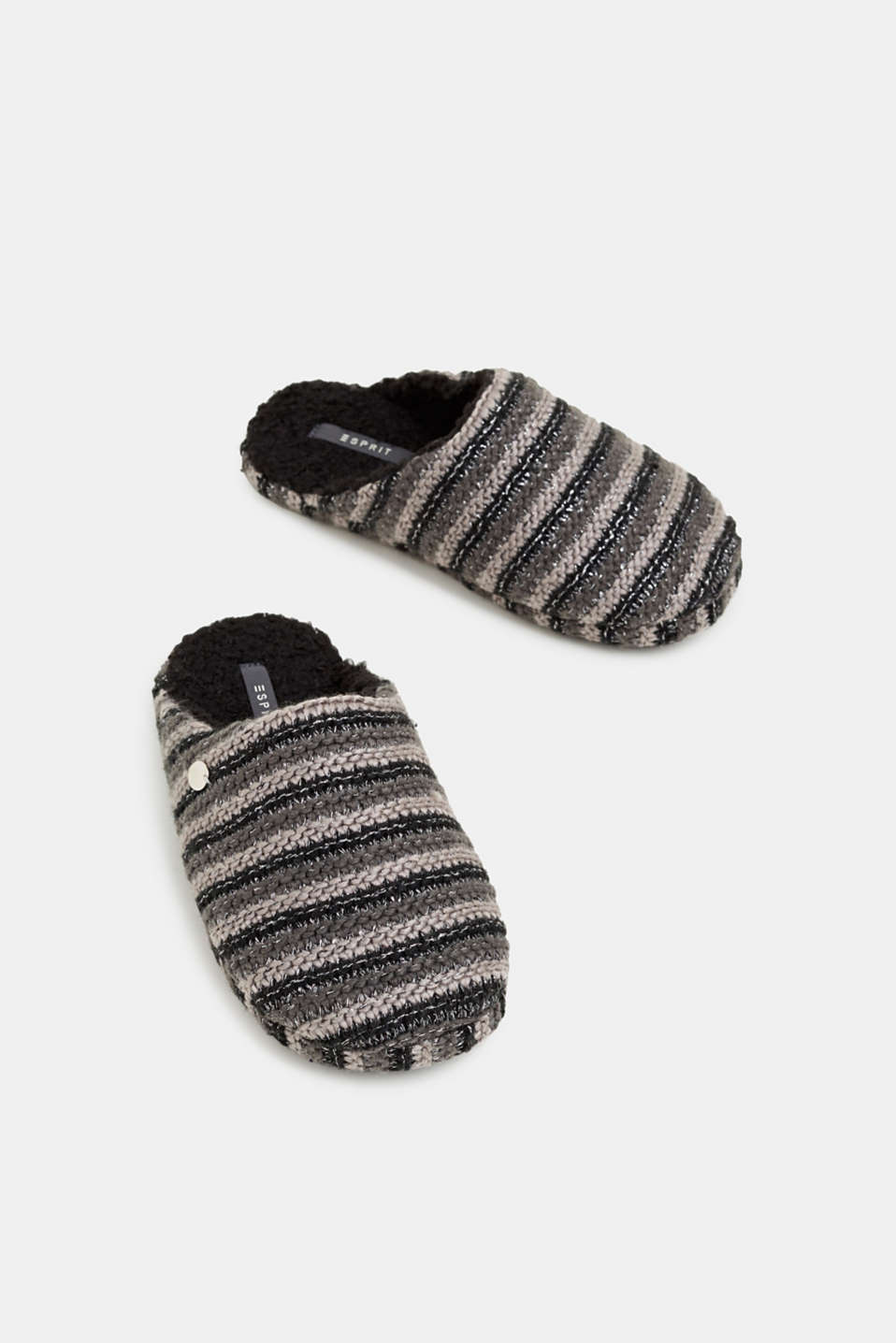 Chunky knit slippers, BLACK, detail image number 1