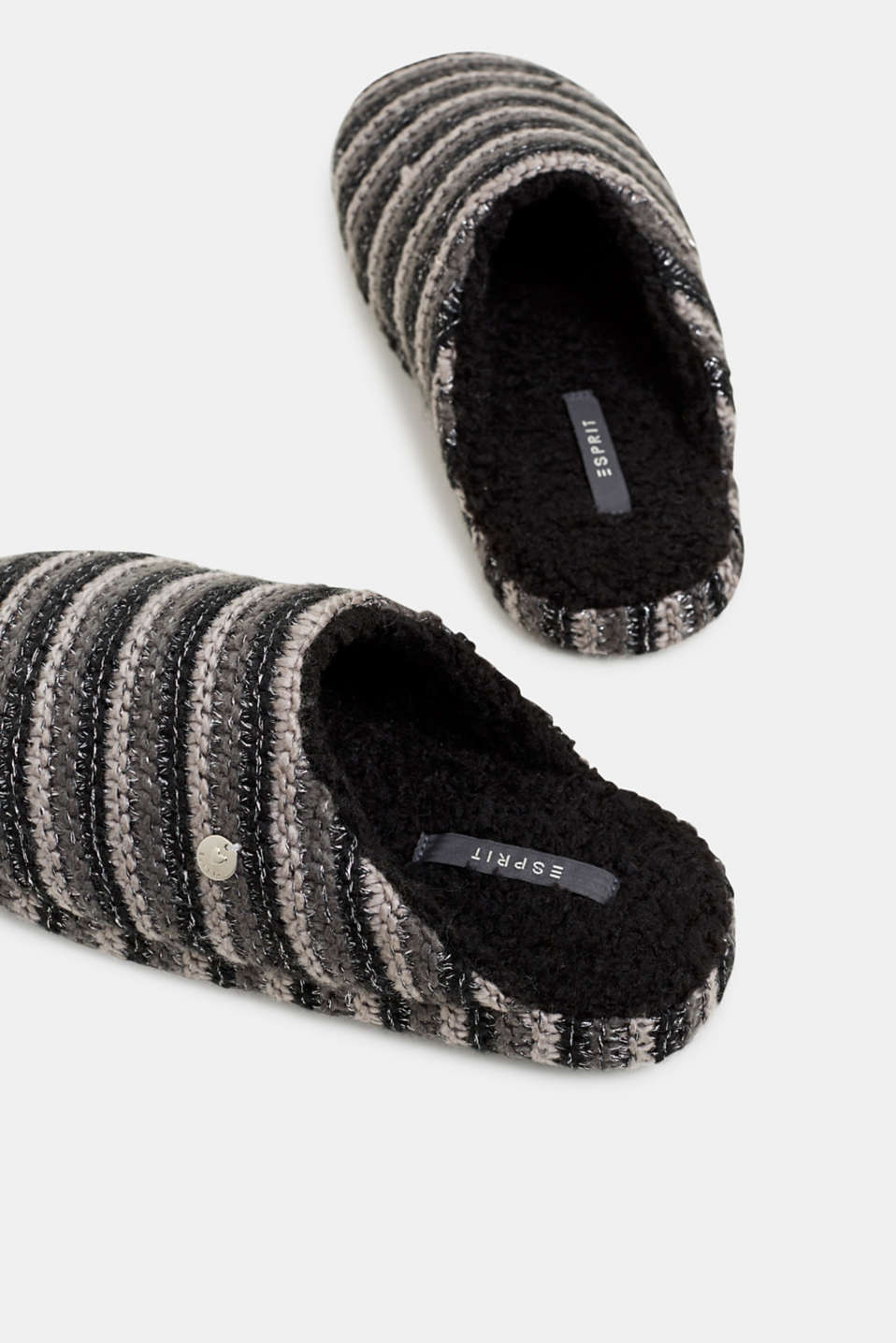 Chunky knit slippers, BLACK, detail image number 3