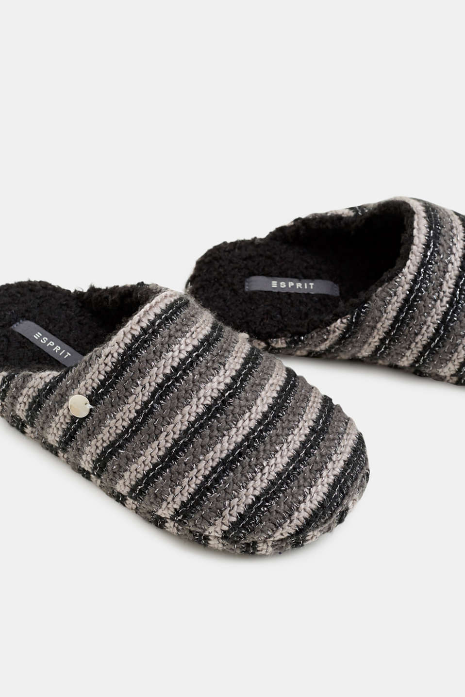 Chunky knit slippers, BLACK, detail image number 4