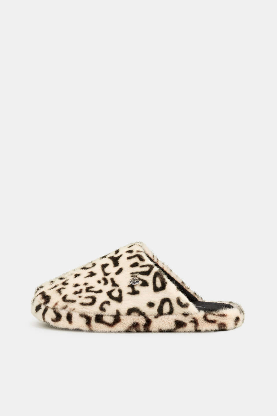 Fake fur slippers, OFF WHITE, detail image number 0