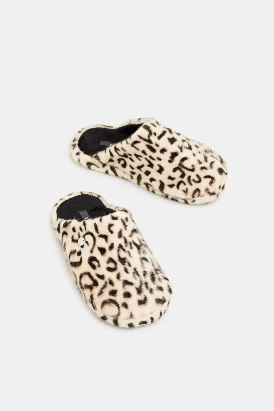 Fake fur slippers, OFF WHITE, detail image number 1