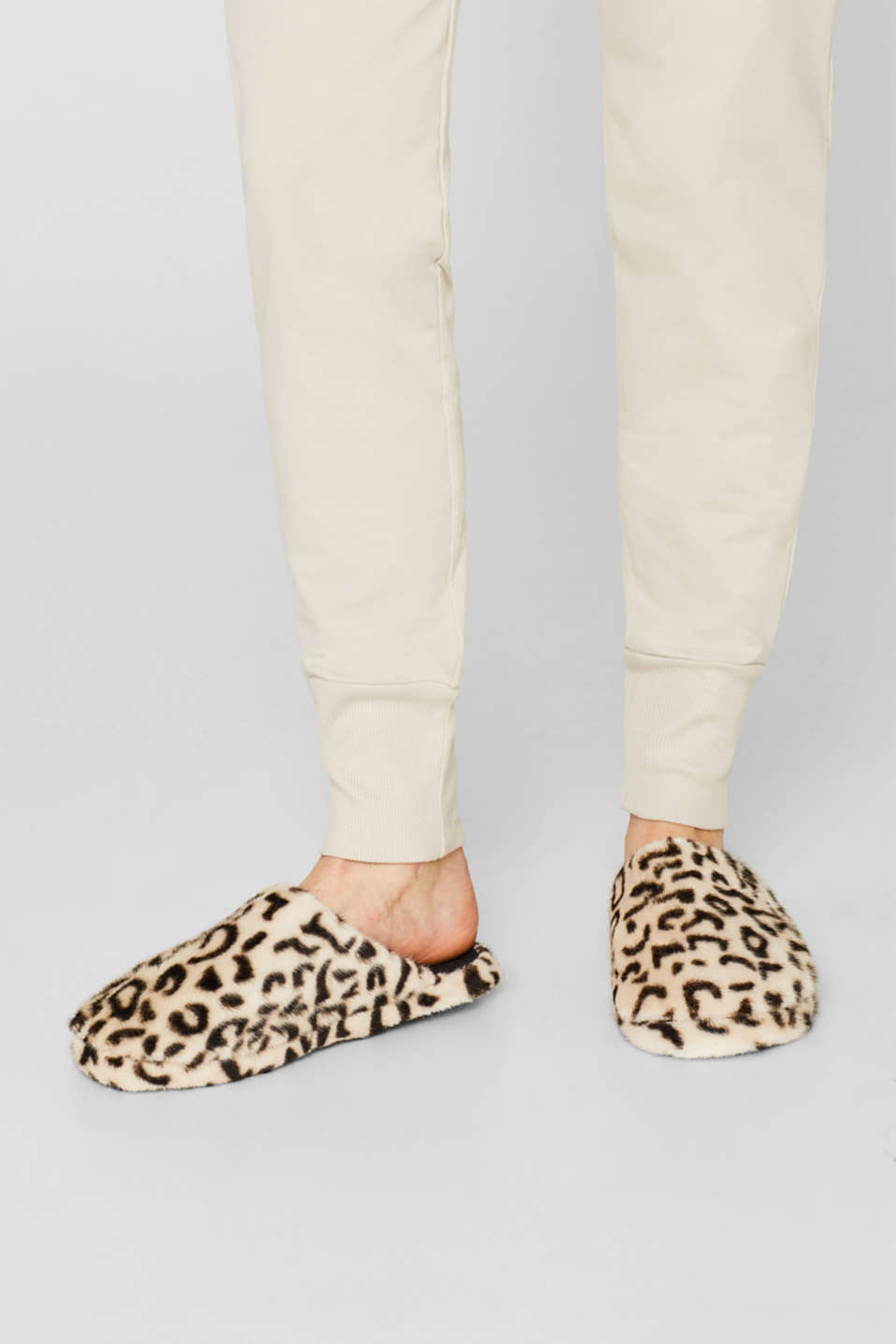 Fake fur slippers, OFF WHITE, detail image number 4