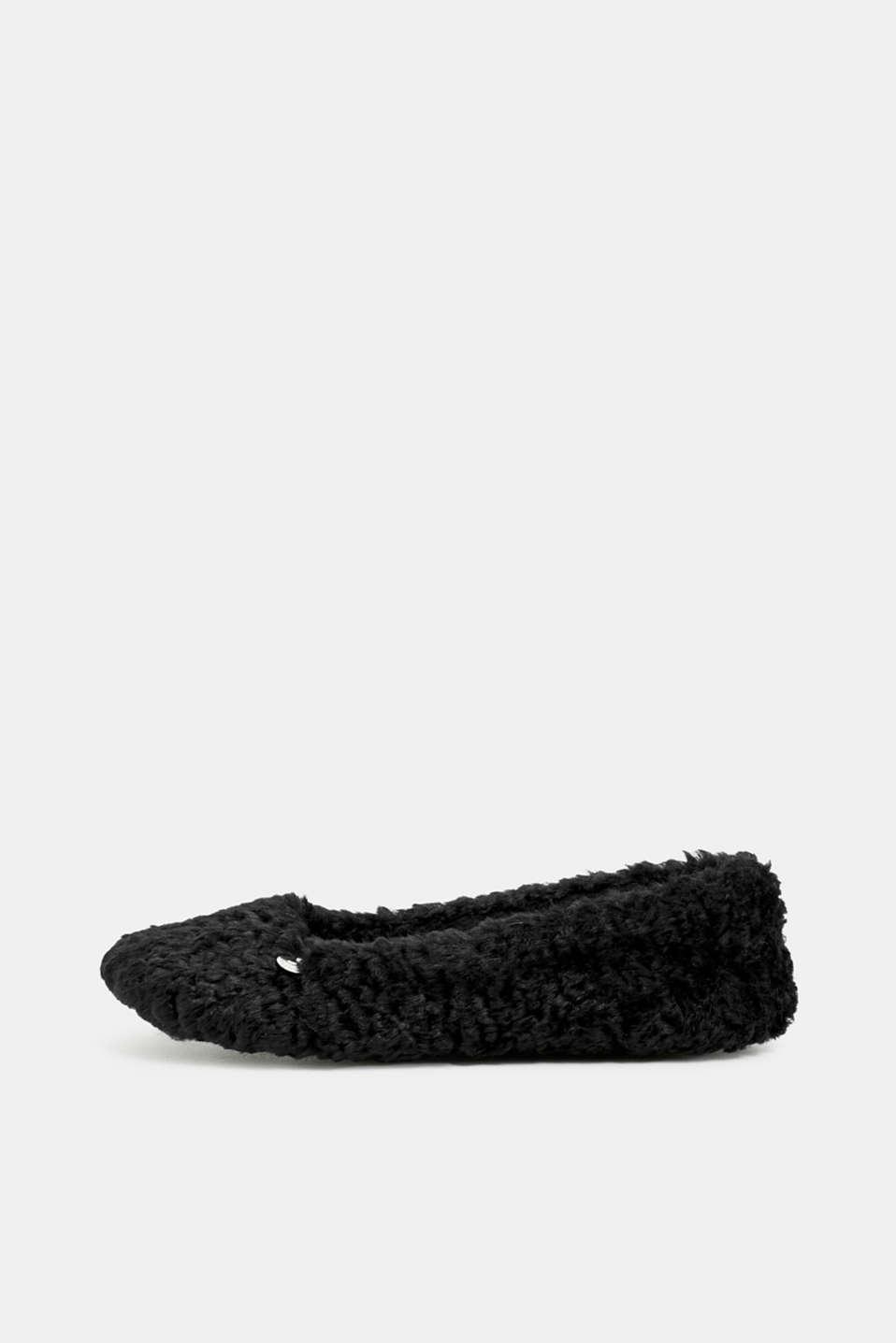 Faux fur slip-ons, BLACK, detail image number 0