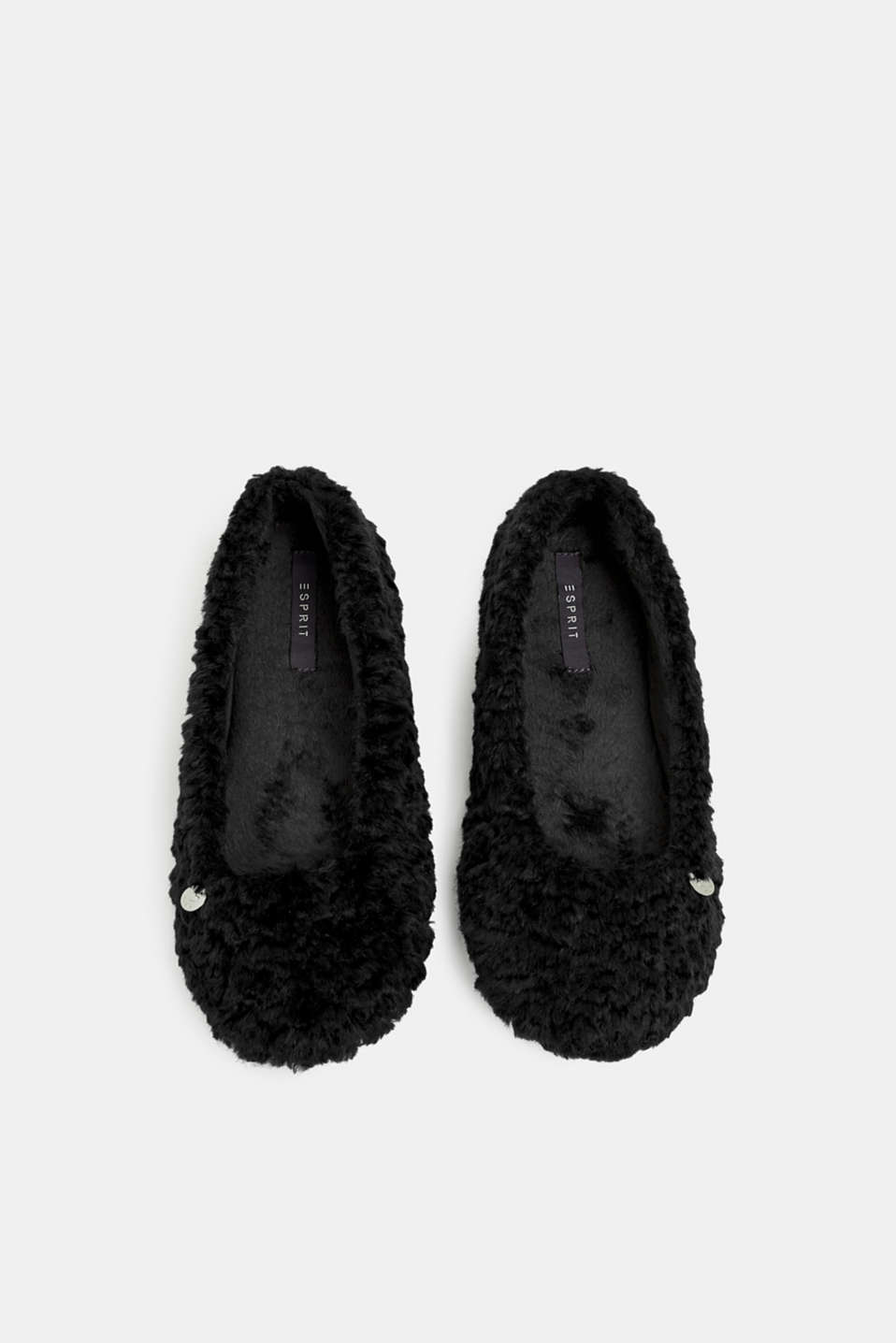 Faux fur slip-ons, BLACK, detail image number 1