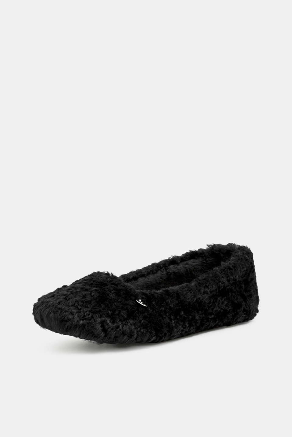 Faux fur slip-ons, BLACK, detail image number 2