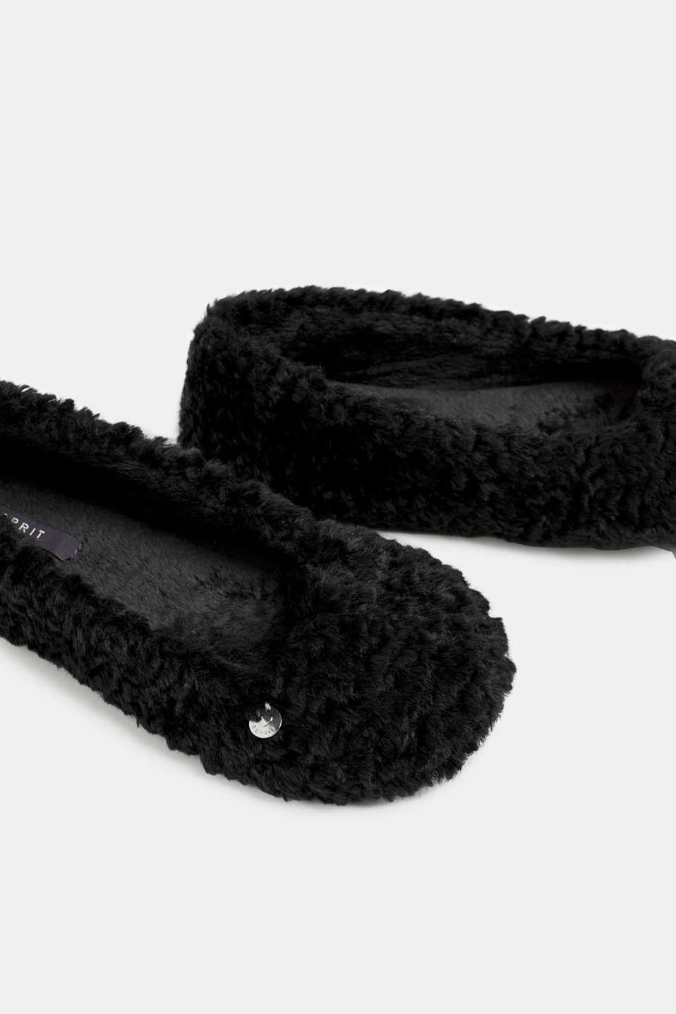 Faux fur slip-ons, BLACK, detail image number 4