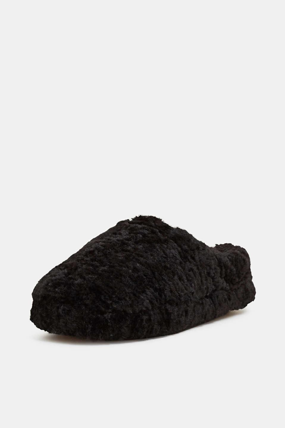 Fake fur slippers, BLACK, detail image number 2