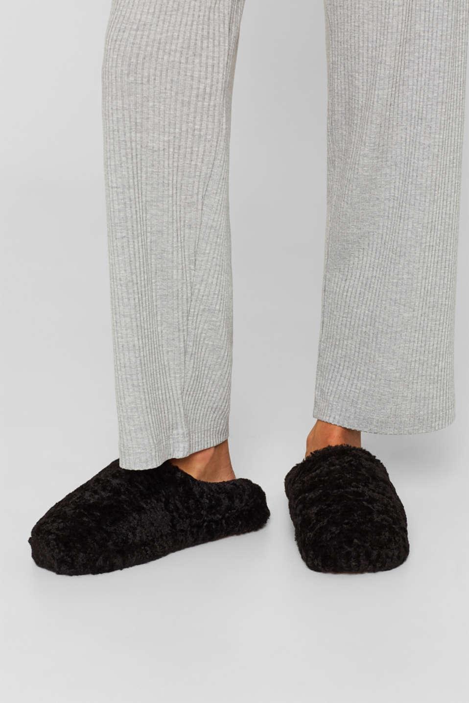 Fake fur slippers, BLACK, detail image number 4