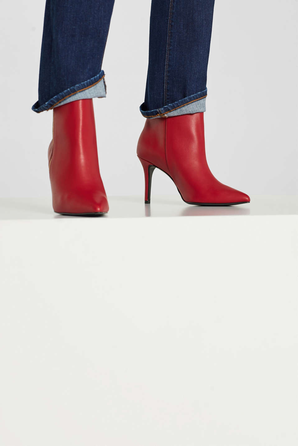 Faux leather ankle boots, DARK RED, detail image number 2