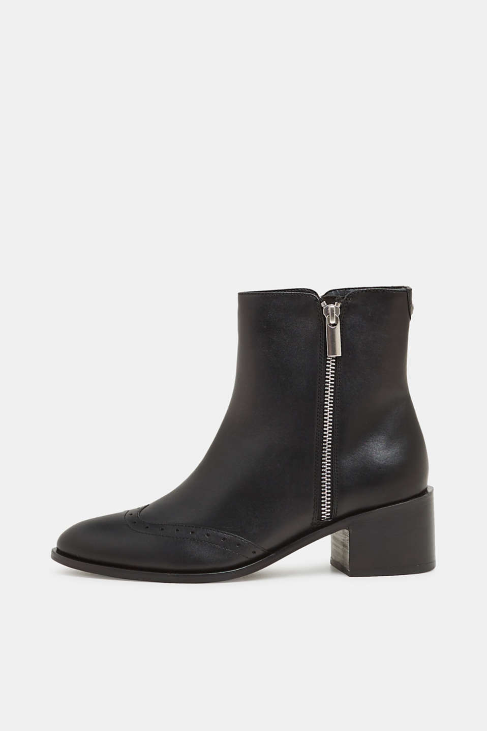 Boots with a brogue pattern, made of leather, BLACK, detail image number 0