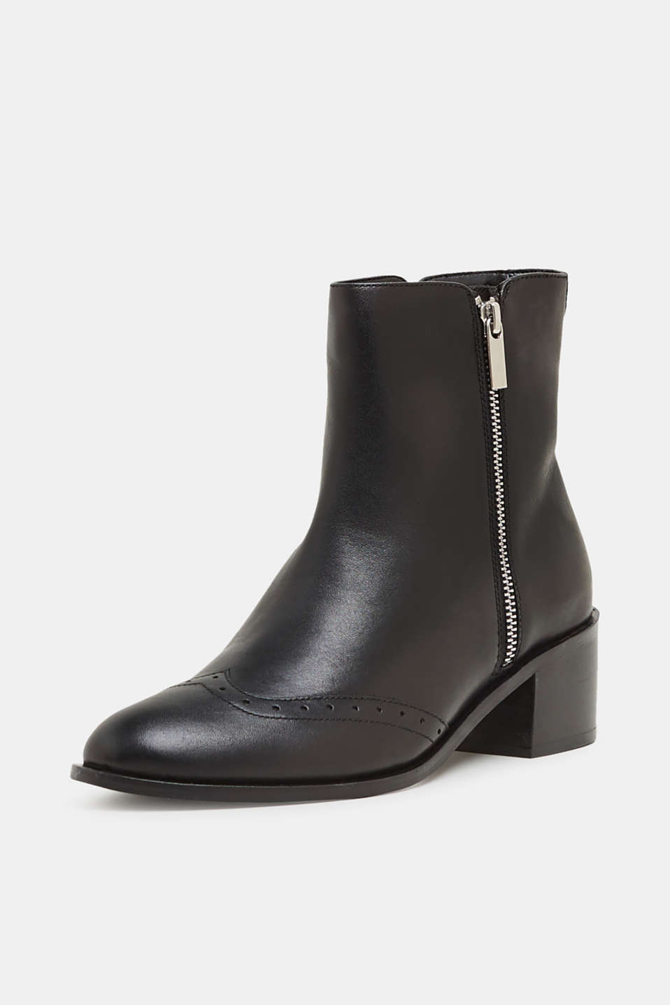 Boots with a brogue pattern, made of leather, BLACK, detail image number 1
