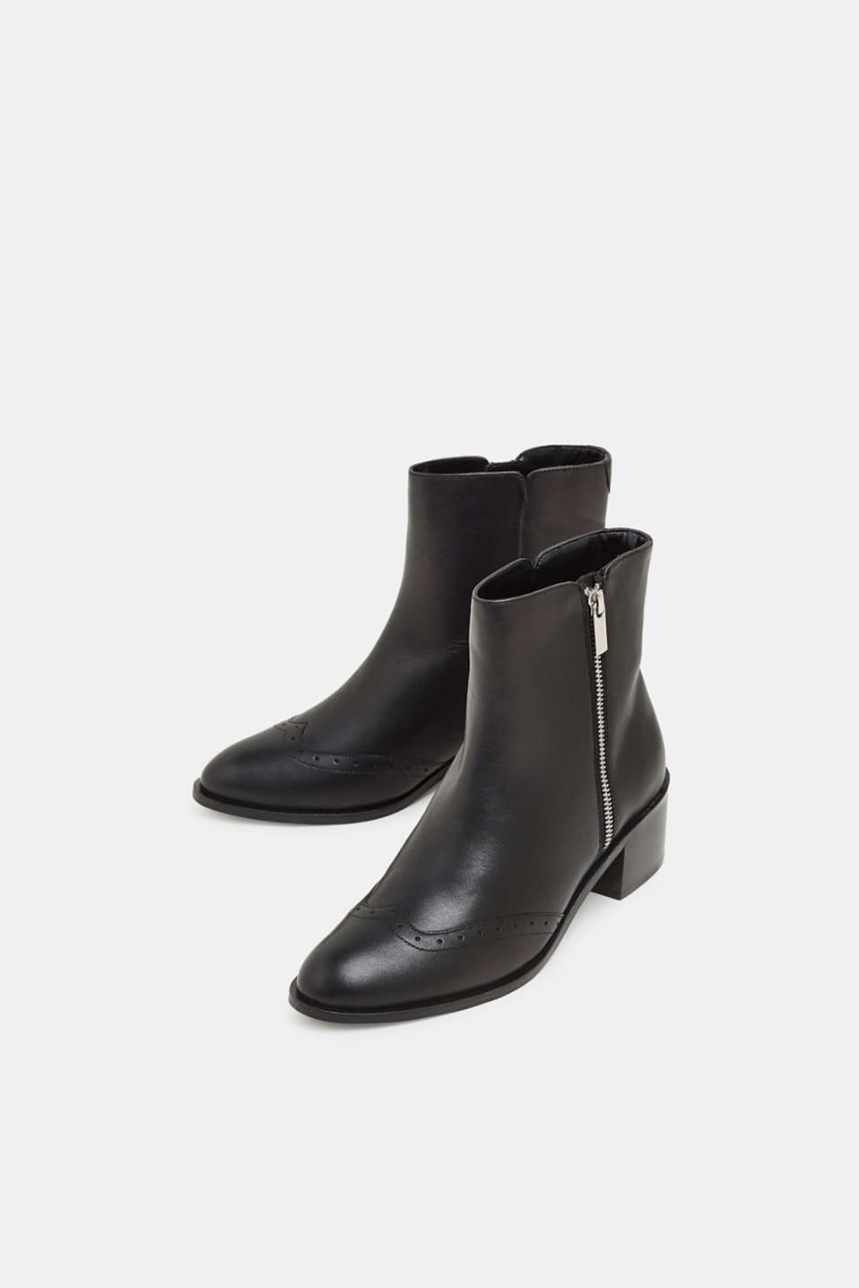 Boots with a brogue pattern, made of leather, BLACK, detail image number 5