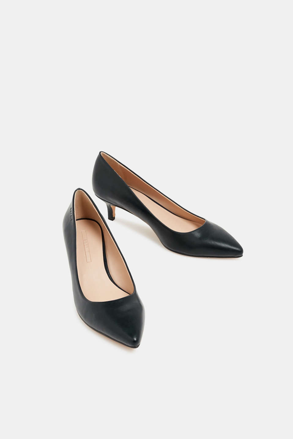 Faux leather court shoes, BLACK, detail image number 1