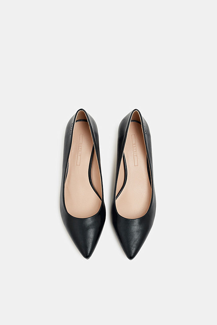 Faux leather court shoes, BLACK, detail image number 6