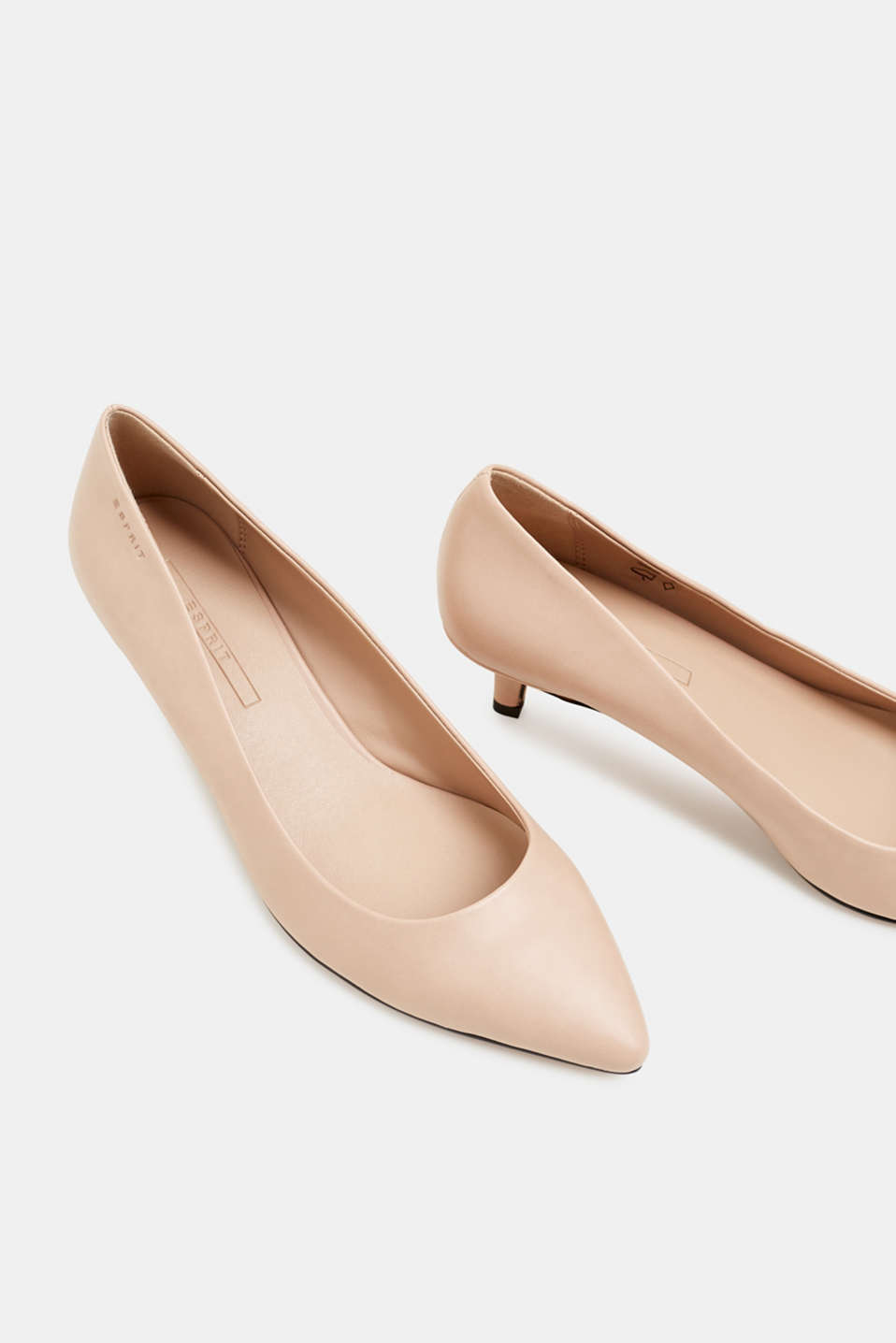 Faux leather court shoes, NUDE, detail image number 4