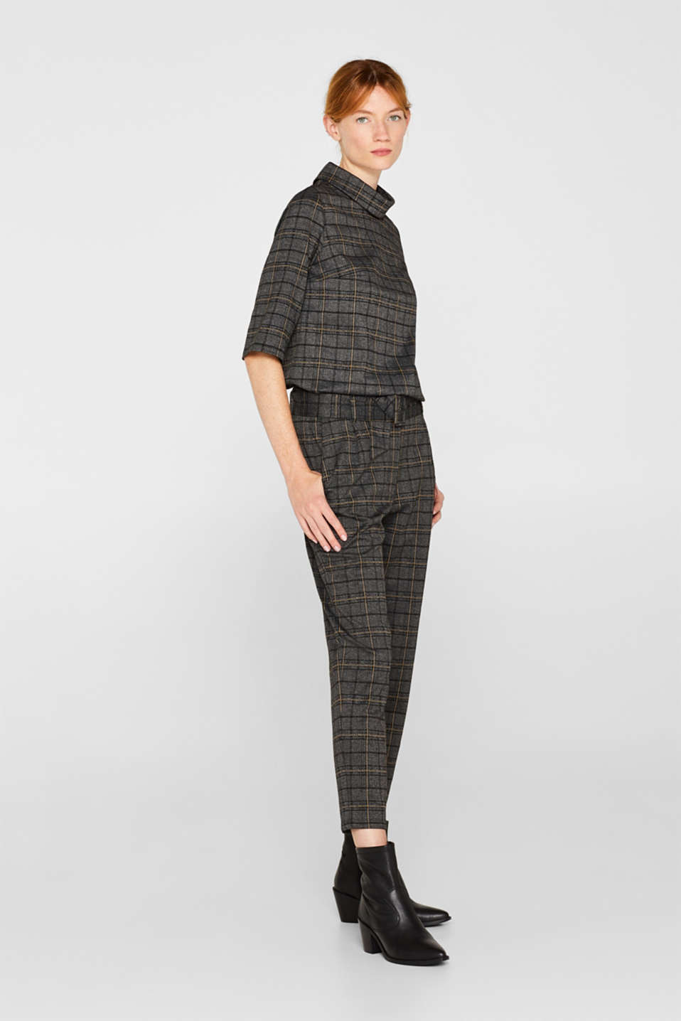 Esprit - JERSEY CHECK Mix + Match Stretch-Hose