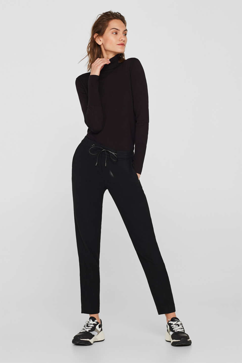 Esprit - Flannel stretch trousers in a tracksuit bottom style
