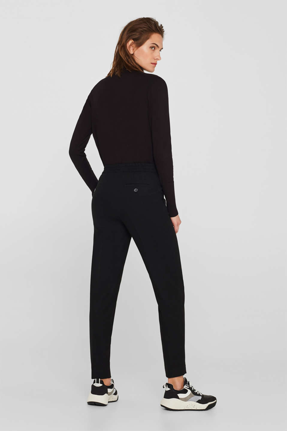 Flannel stretch trousers in a tracksuit bottom style, BLACK, detail image number 3