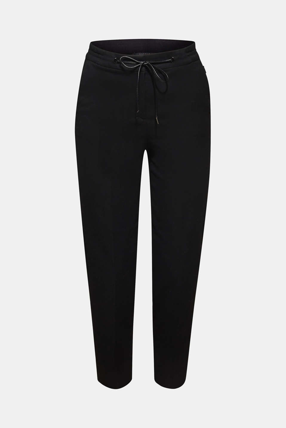 Flannel stretch trousers in a tracksuit bottom style, BLACK, detail image number 6