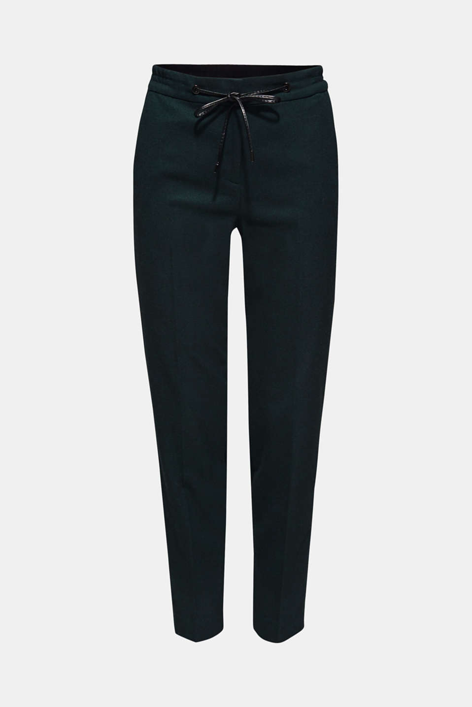Flannel stretch trousers in a tracksuit bottom style, FOREST, detail image number 7
