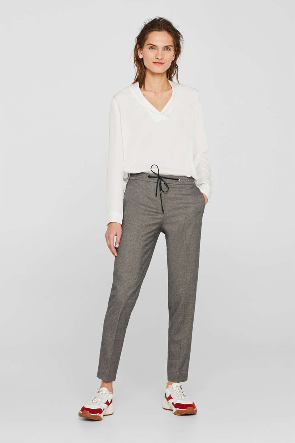 Esprit - Pantalon stretch chiné de style jogging