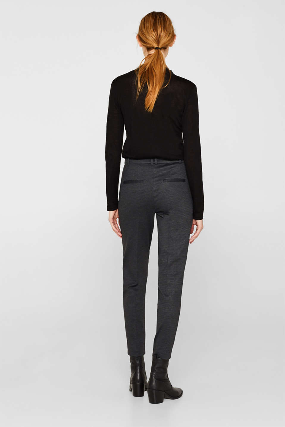 MINI CHECK Mix + Match stretch trousers, ANTHRACITE, detail image number 3