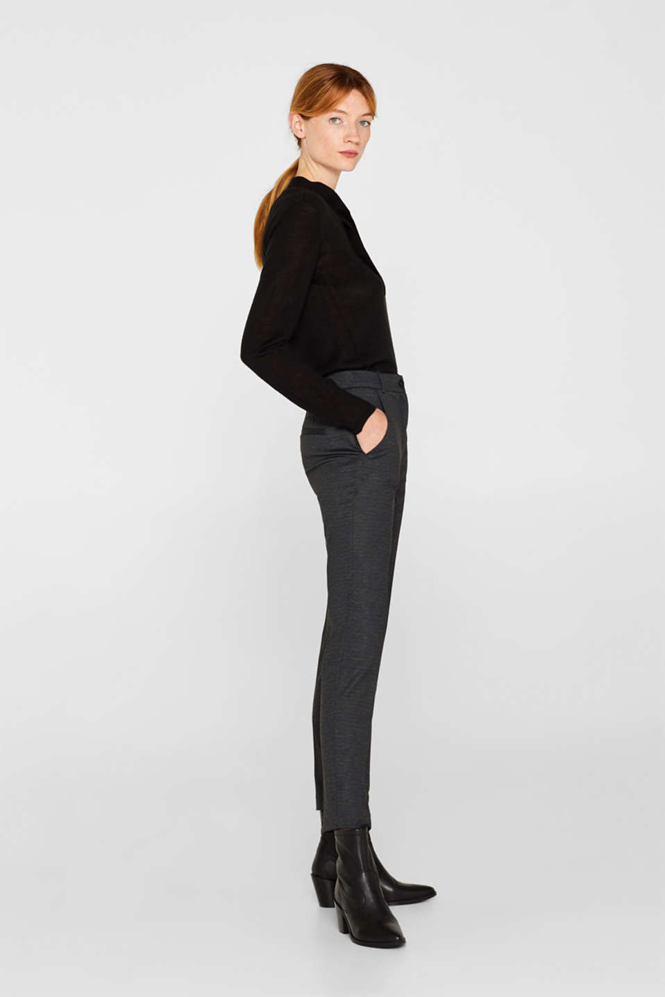MINI CHECK Mix + Match stretch trousers, ANTHRACITE, detail image number 5
