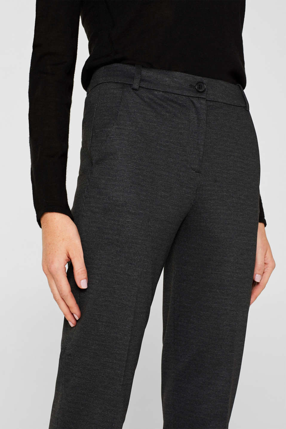 MINI CHECK Mix + Match stretch trousers, ANTHRACITE, detail image number 2