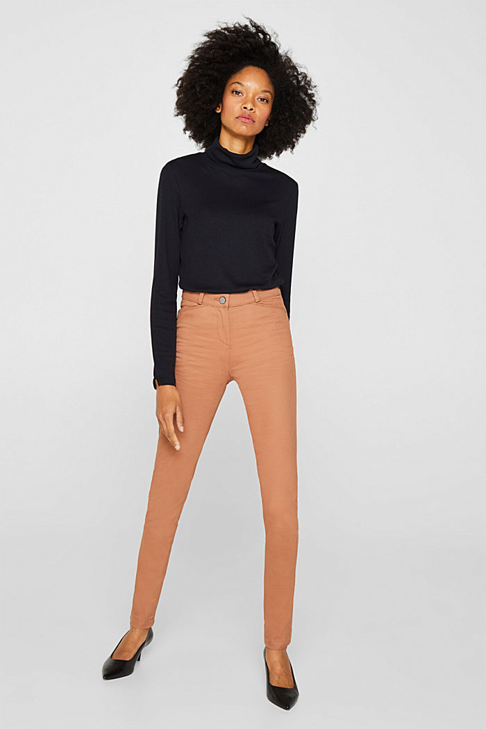 Soft, high-waisted stretch trousers, CAMEL, detail image number 0