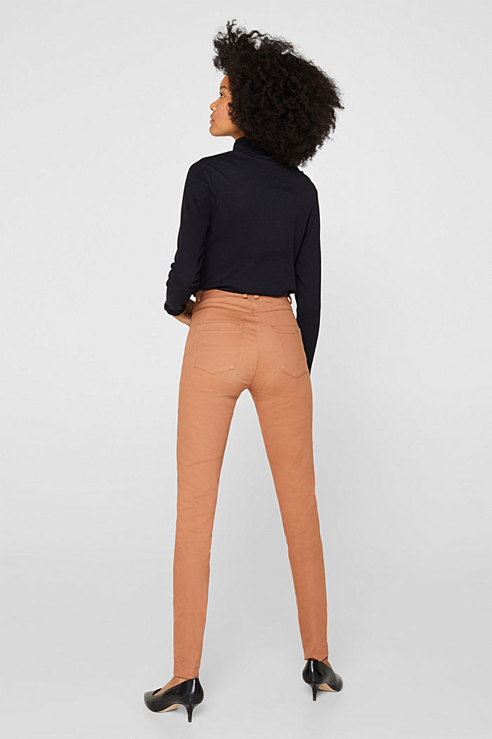Soft, high-waisted stretch trousers, CAMEL, detail image number 3