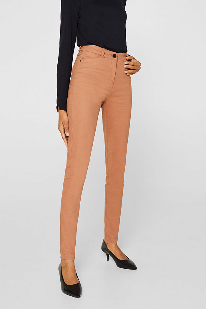 Soft, high-waisted stretch trousers, CAMEL, detail image number 6