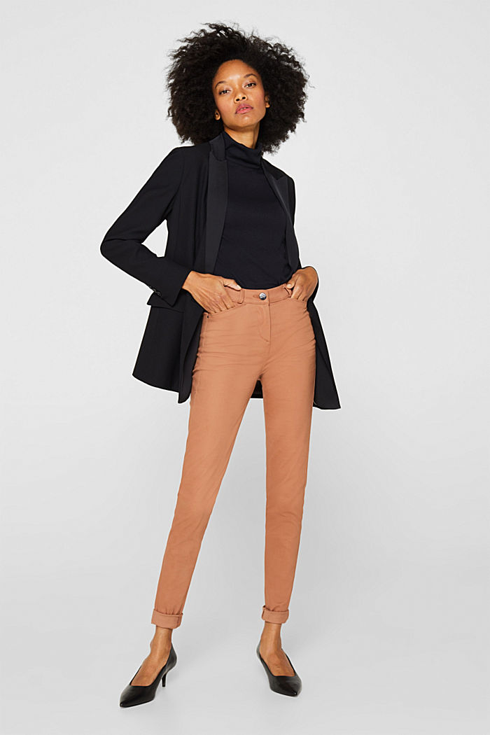 Soft, high-waisted stretch trousers, CAMEL, detail image number 1