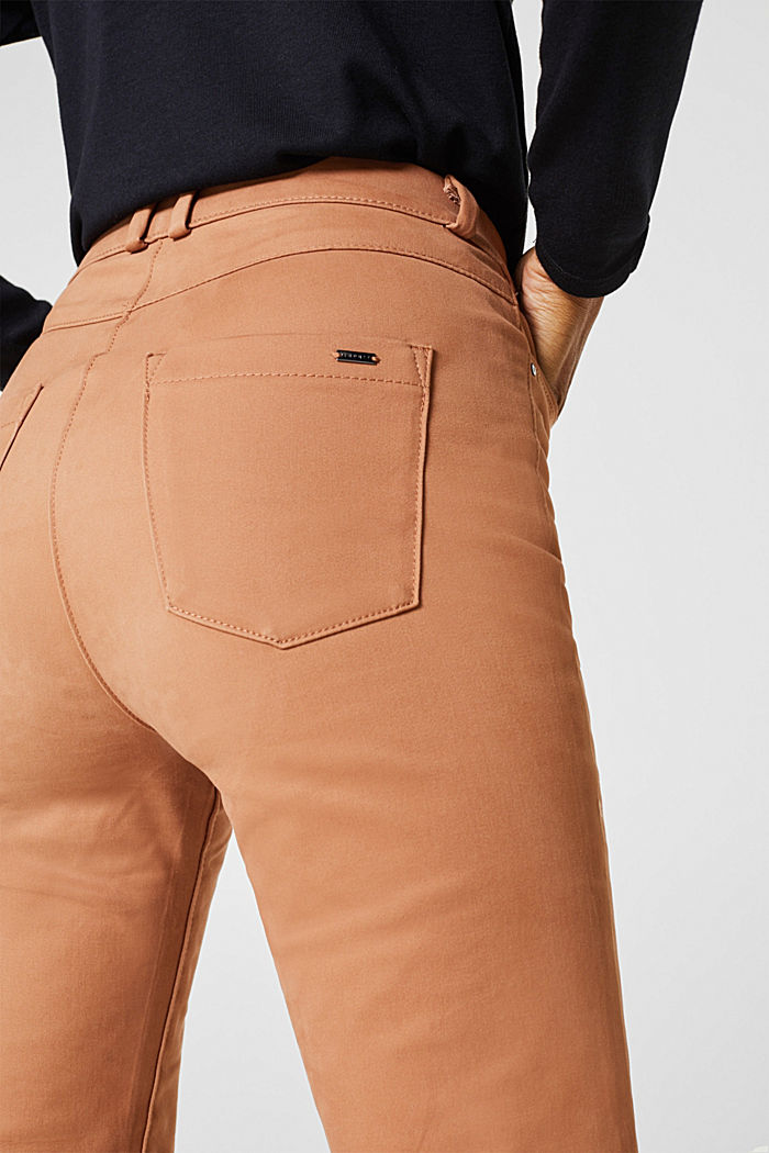 Soft, high-waisted stretch trousers, CAMEL, detail image number 5