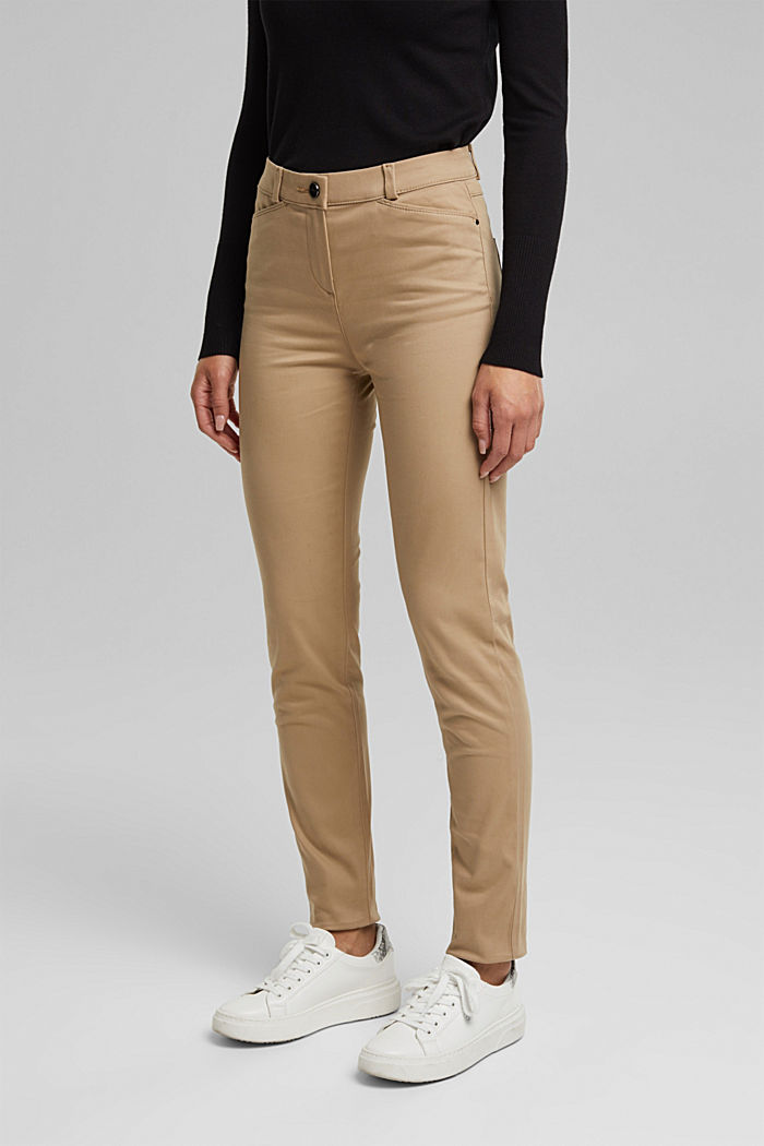 Softe High-Waist-Hose mit Stretch, LIGHT TAUPE, detail image number 0