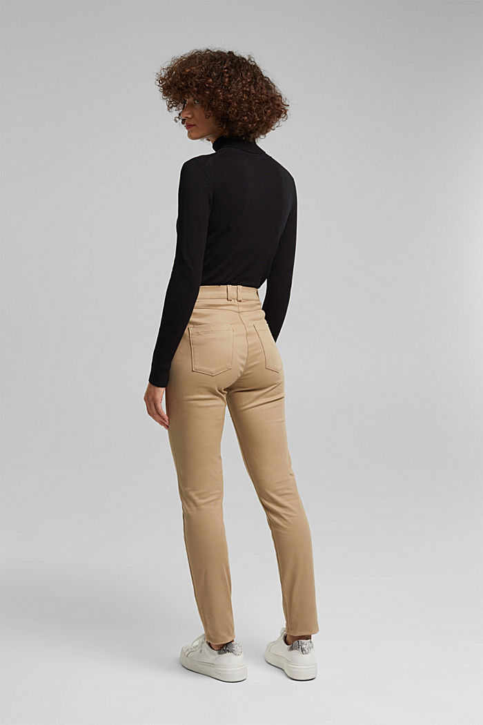 Softe High-Waist-Hose mit Stretch, LIGHT TAUPE, detail image number 3