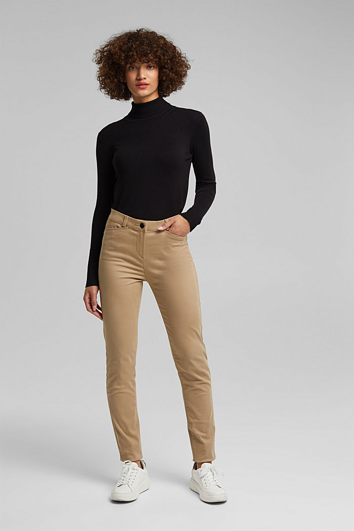 Softe High-Waist-Hose mit Stretch, LIGHT TAUPE, detail image number 6