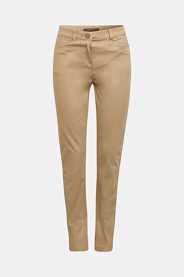 Softe High-Waist-Hose mit Stretch, LIGHT TAUPE, detail image number 7