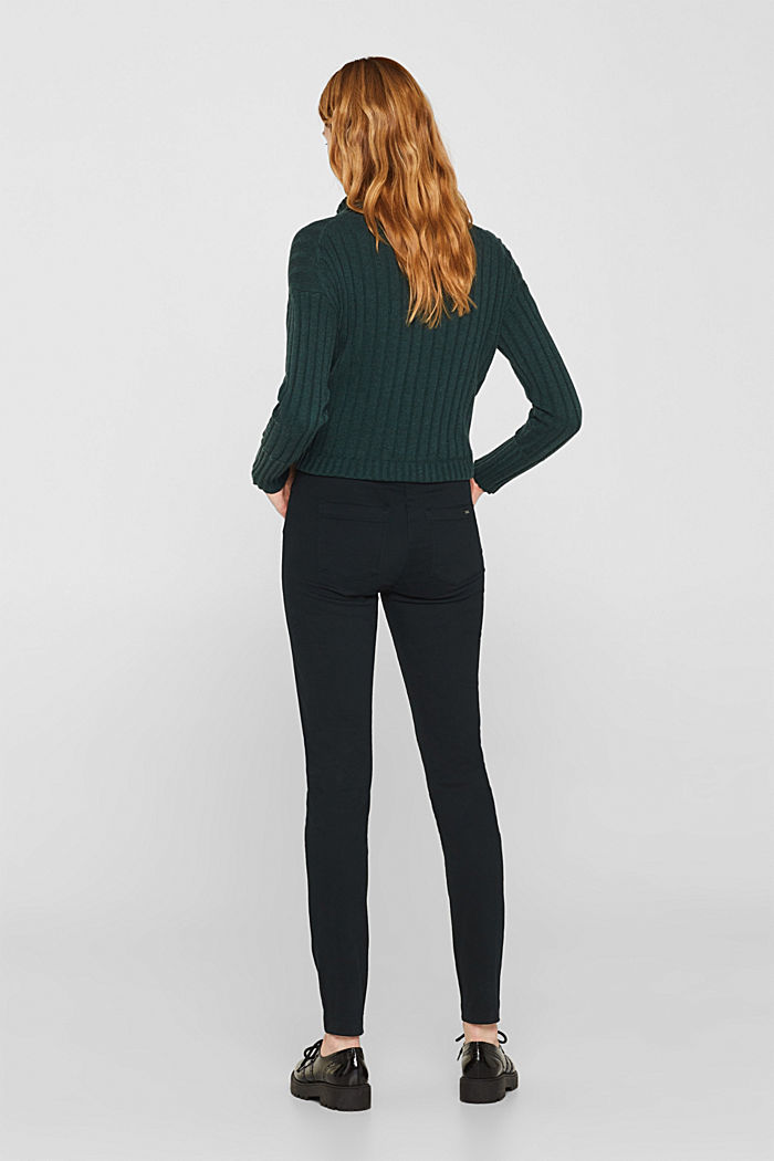 Soft, high-waisted stretch trousers, DARK TEAL GREEN, detail image number 3