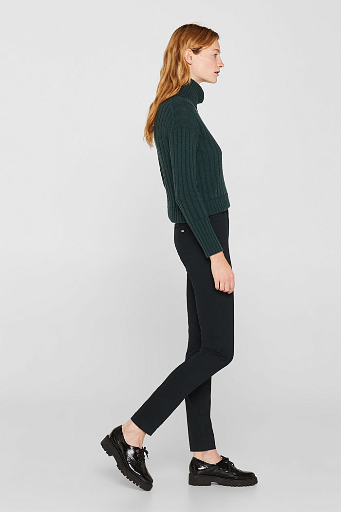 Soft, high-waisted stretch trousers, DARK TEAL GREEN, detail image number 5