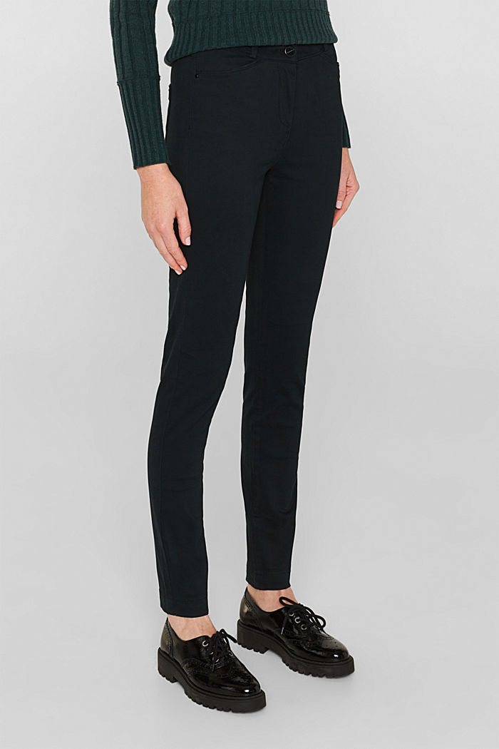 Soft, high-waisted stretch trousers, DARK TEAL GREEN, detail image number 7