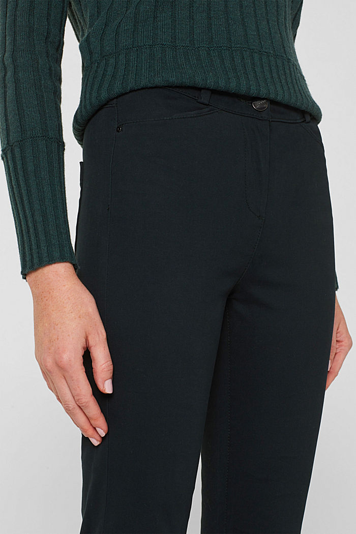 Soft, high-waisted stretch trousers, DARK TEAL GREEN, detail image number 2