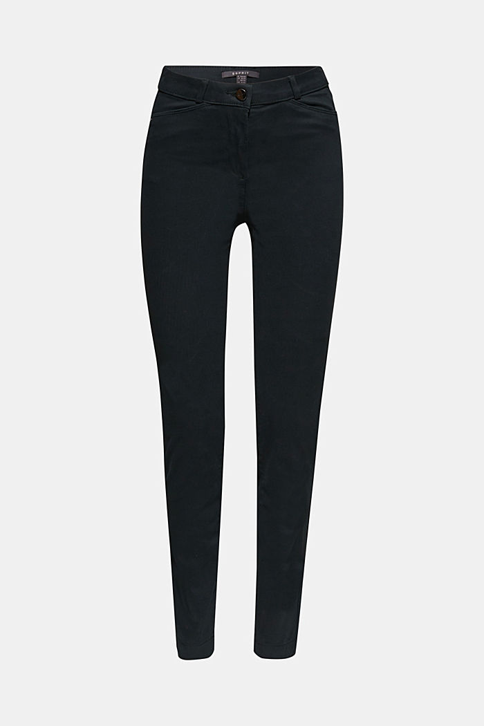 Soft, high-waisted stretch trousers, DARK TEAL GREEN, detail image number 8
