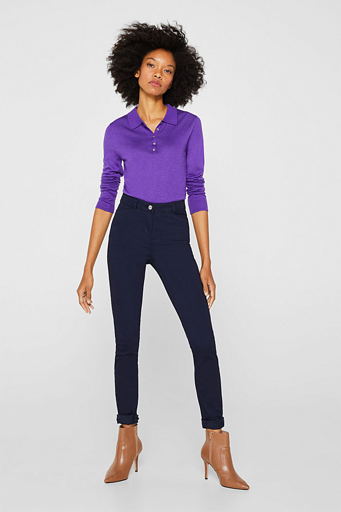 Soft, high-waisted stretch trousers, NAVY, detail image number 0
